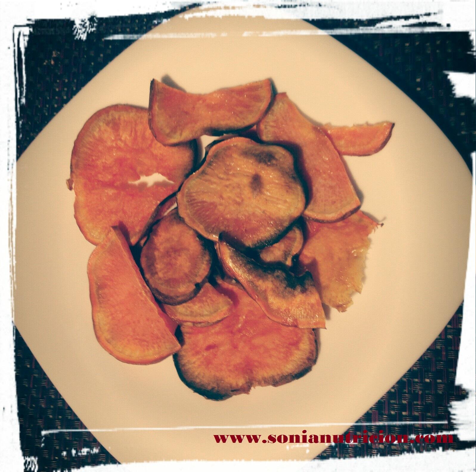 Chips de boniato al horno